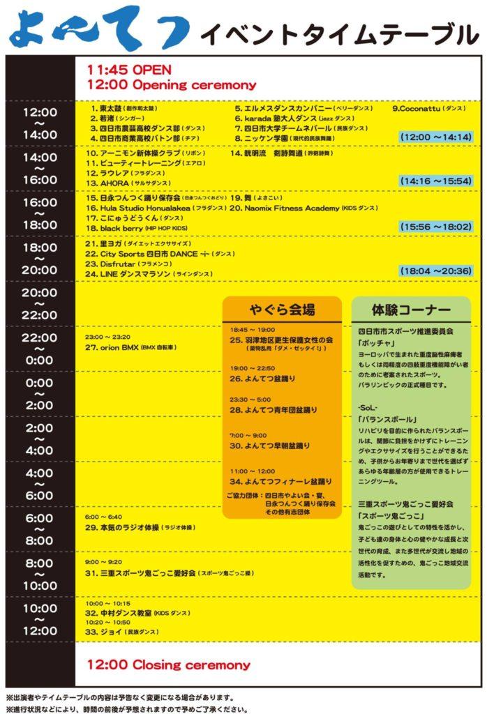 よんてつ(四日市徹夜踊りの祭典)スケジュール